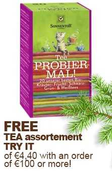 FREE tea assortment try it of € 4,40 with an order of € 100,- or more